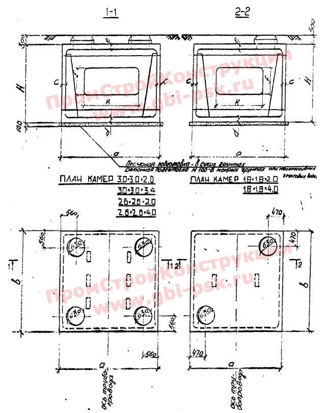 Камеры теплофикационные сборные и сборно-монолитные