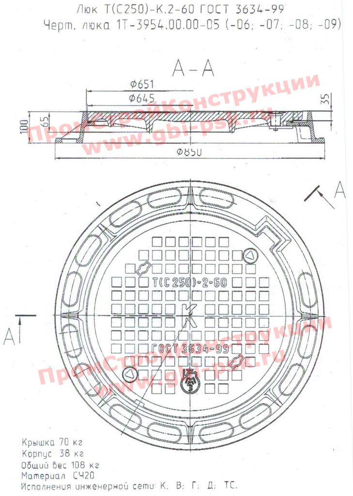 Чугунные люки для колодцев Т(С250)-К.2-60