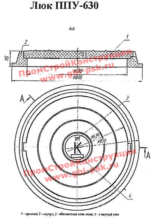 Люки полимерно-песчаные ПП-630, ППУ-630, ПП-630 ГТС