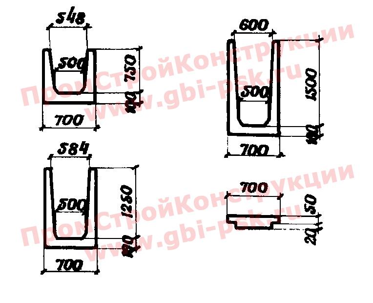 Лотки МПЛ тип II железобетонные междупутные водоотводных устройств на железнодорожных станциях — альбом № 984 Мосгипротранс