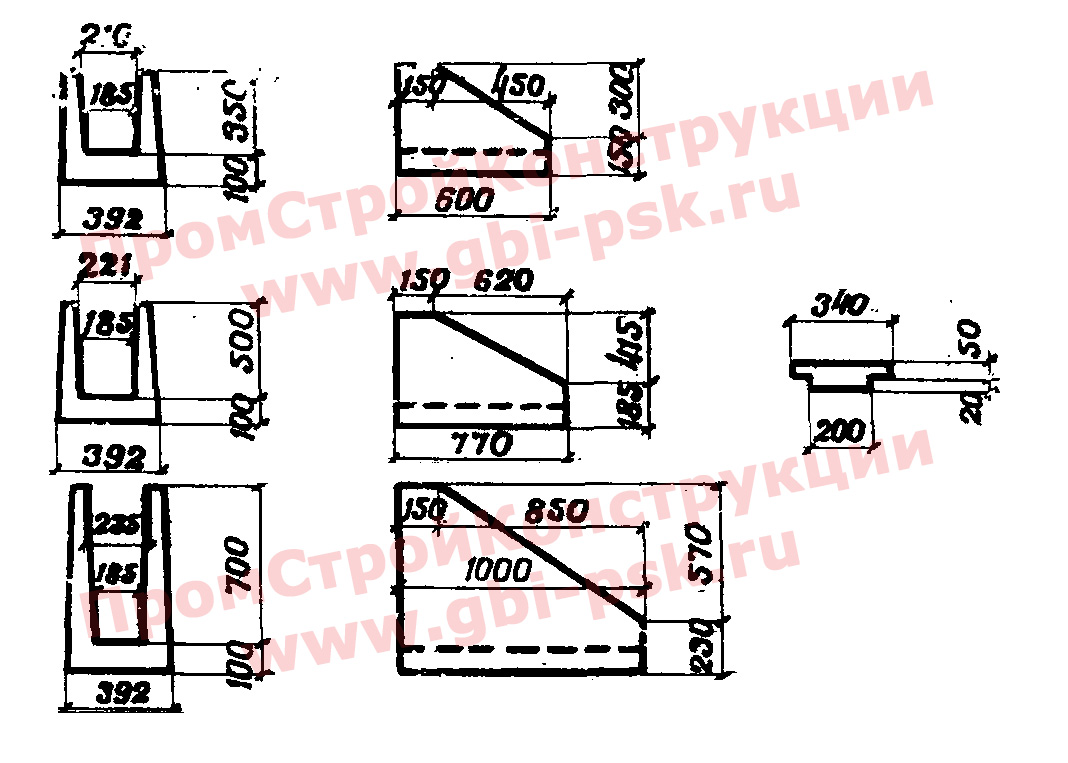 Лотки МШЛ тип I железобетонные междушпальные водоотводных устройств на железнодорожных станциях — альбом № 984 Мосгипротранс