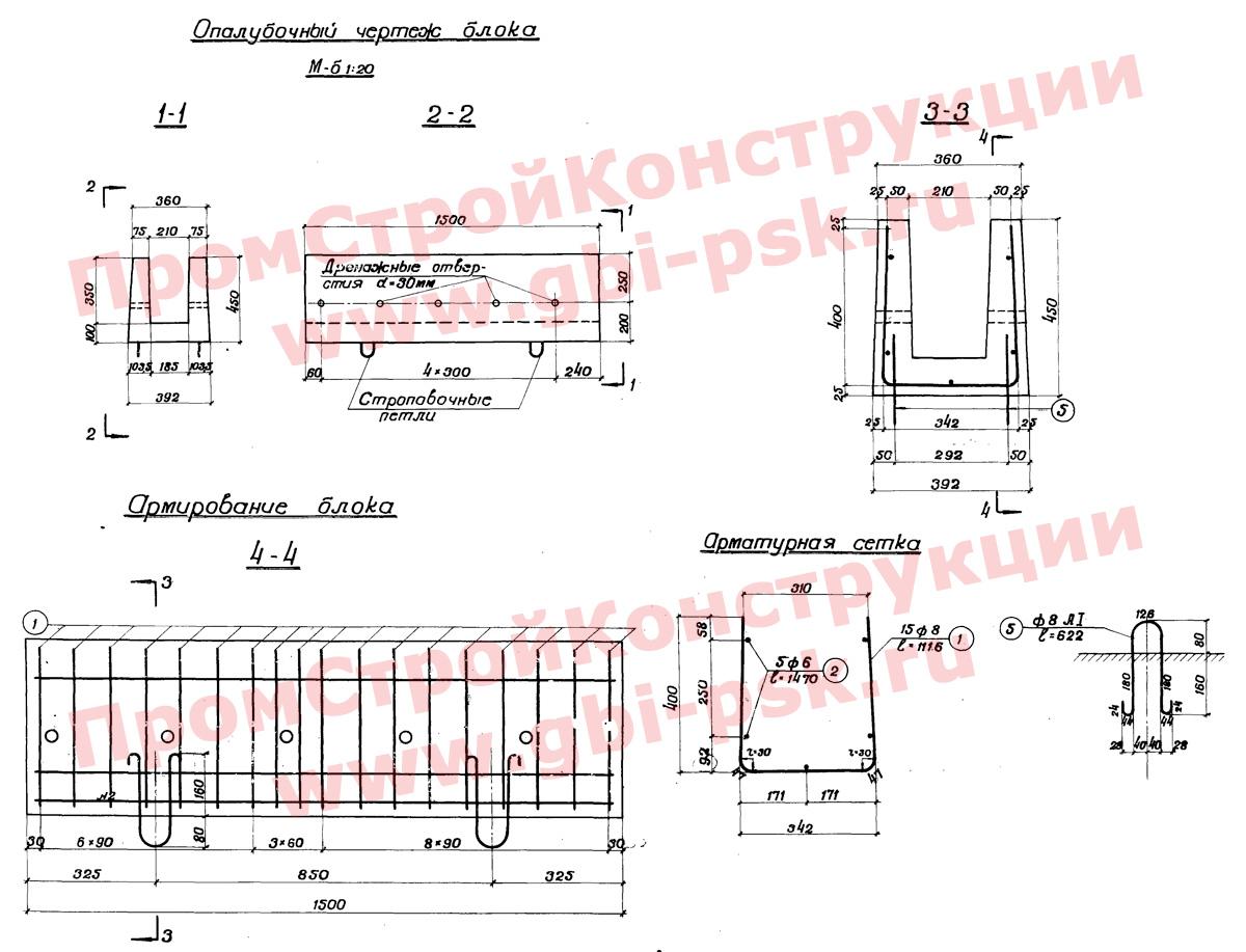 Лотки железобетонные междушпальные для водоотводных устройств на железнодорожных станциях (альбом № 984 Мосгипротранс)