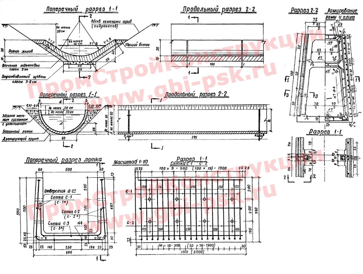 Лотки и железобетонные водоотводные конструкции для железных дорог (альбом № 819)