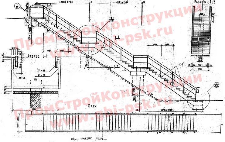 Лестничные сходы, косоуры, ступени, элементы