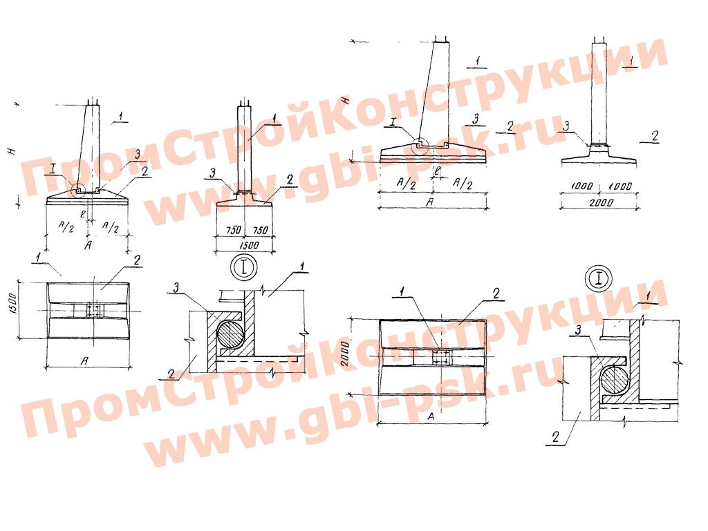 Составные фундаменты для металлических опор ВЛ 35-500 кВ. Серия 3.407.1-144 выпуск 1