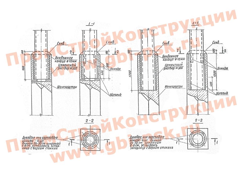 Фундаменты для центрифугированных железобетонных опор контактной сети железных дорог. Серия 3.501.1-149, выпуск 1-1