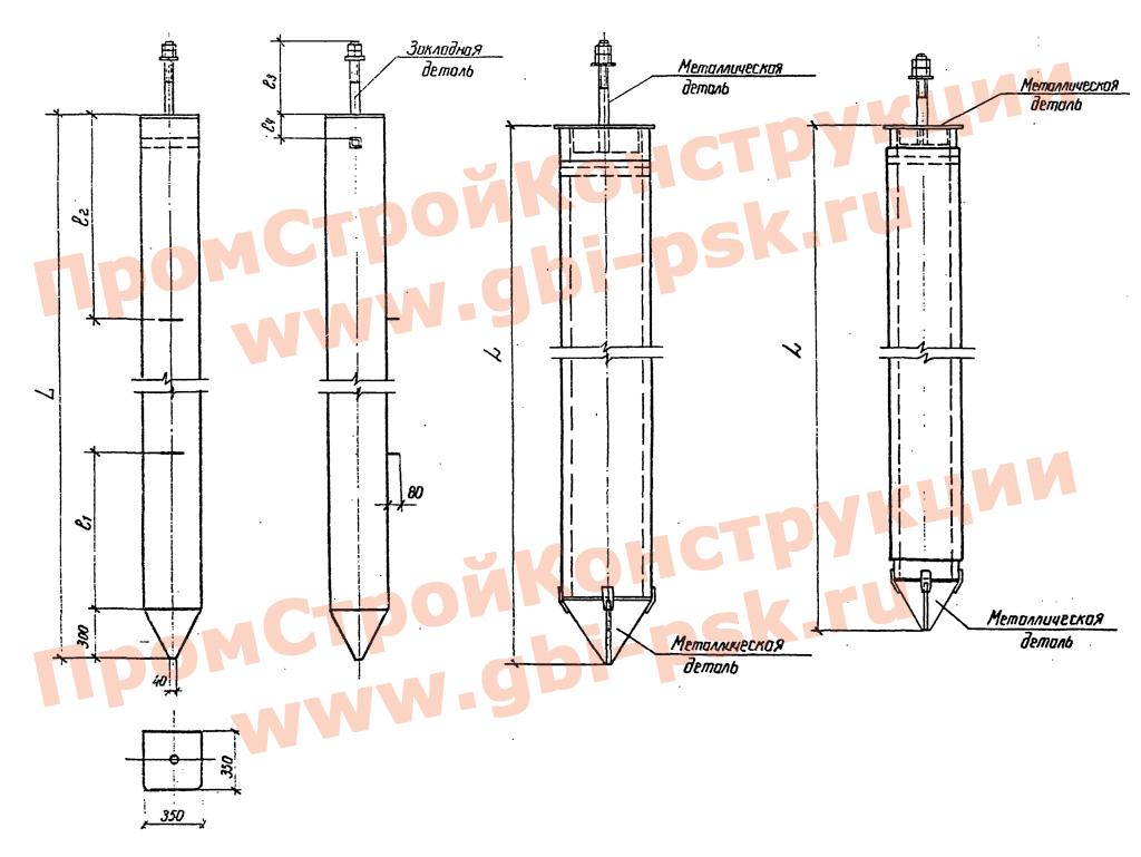 Сваи для металлических опор ВЛ 35-500 кВ. Серия 3.407.9-146 выпуск 2