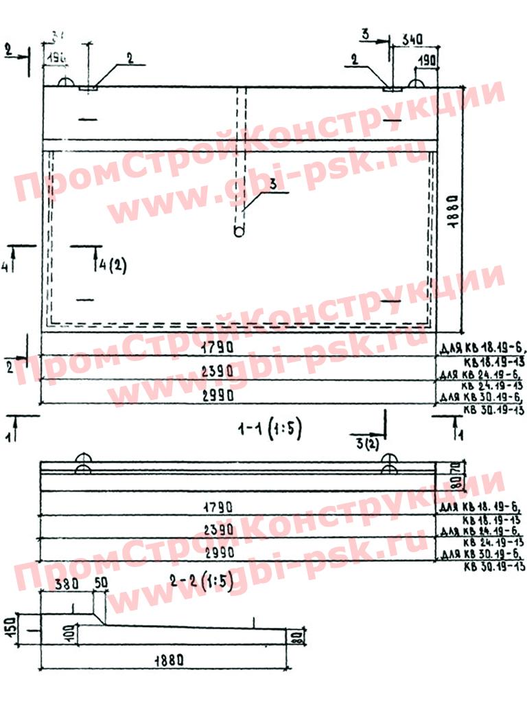 Козырьки входов (тип КВ), плиты парапетные (тип ПП). Серия 1.238-1-3