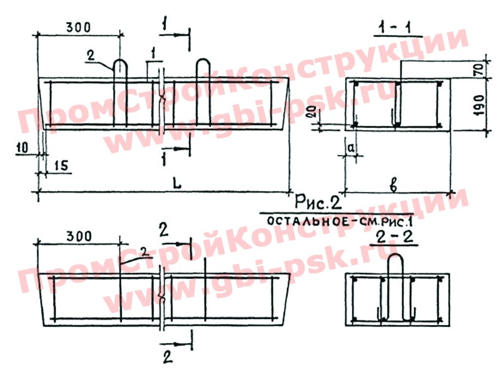 Перемычки плитные железобетонные. Серия 1.038-1 выпуски 2,5,8,9