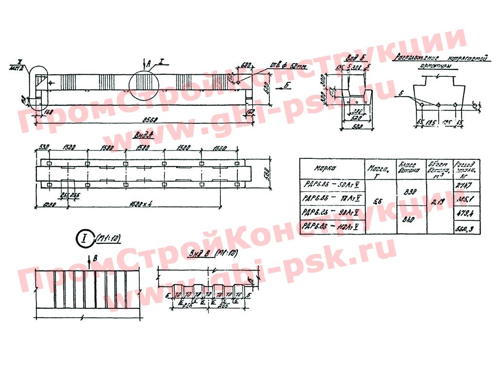 Ригели железобетонные. Серия 1.020-1/87 выпуск 3-5