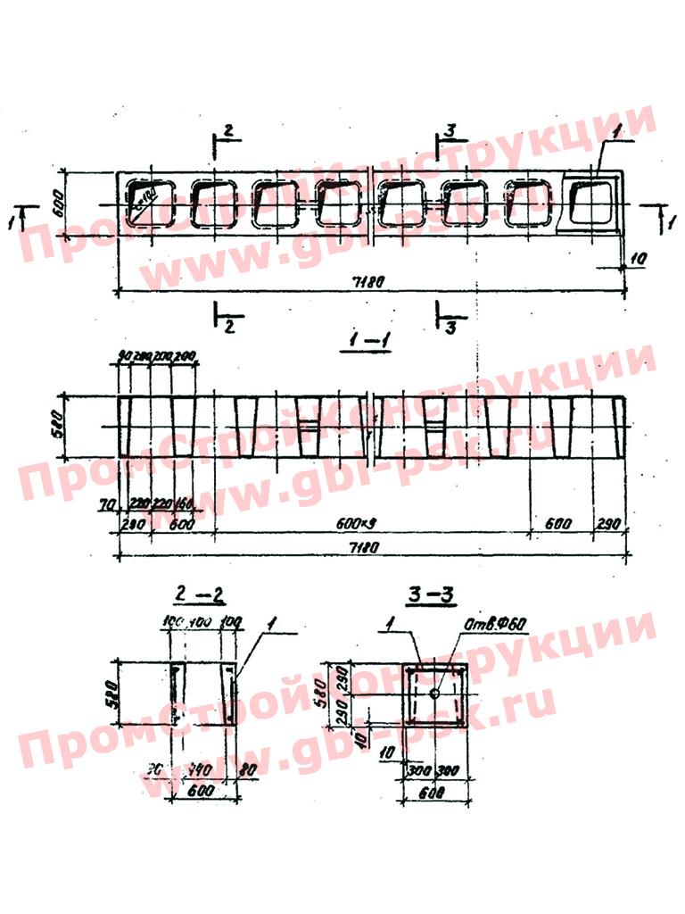 Блоки ФБП (унифицированные дырчатые блоки). Серия 3.004.1-9