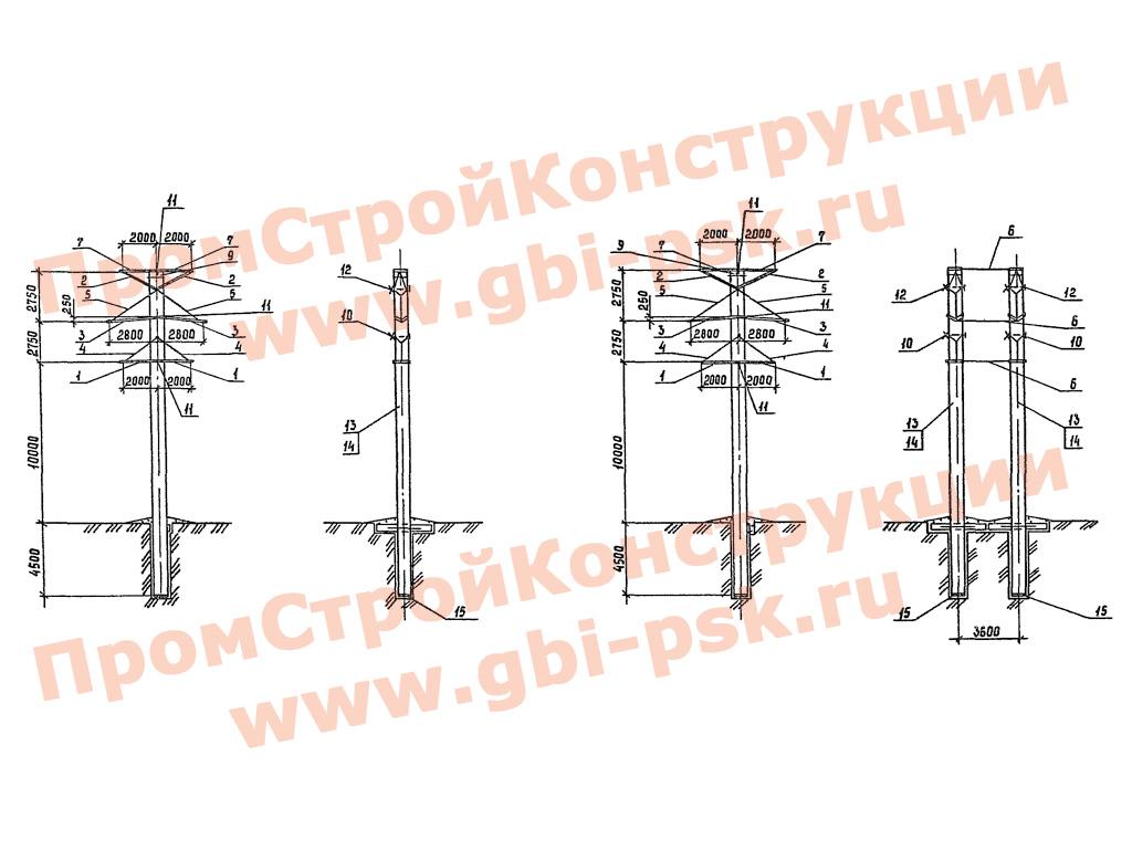 Унифицированные конструкции анкерно-угловых железобетонных опор ВЛ 35-220 кВ. Серия 3.407.1-151