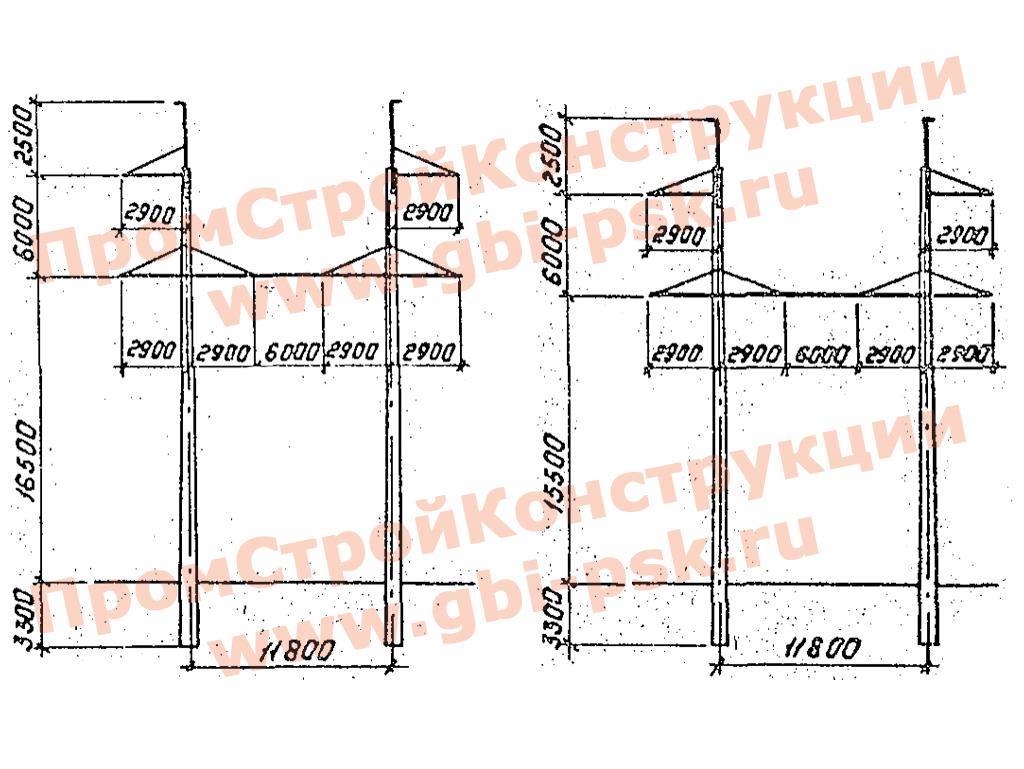 Унифицированные конструкции промежуточных двухстоечных железобетонных опор ВЛ 35-500кВ. Серия 3.407.1-152