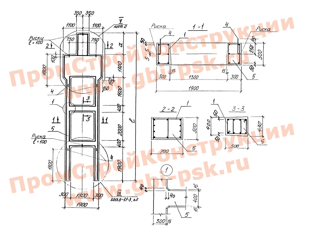 Колонны железобетонные для открытых крановых эстакад. Серия 3.013.9-1 выпуск 1