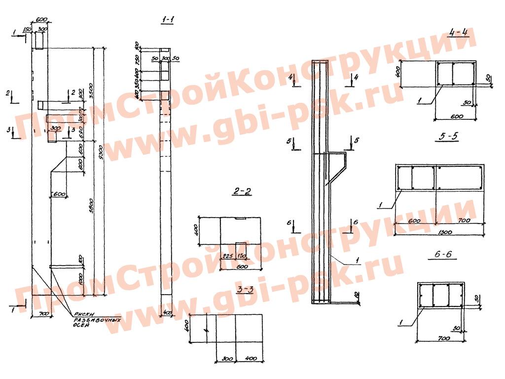 Железобетонные колонны, траверсы, плиты фундамента, подколонники. Серия 3.016.1-11 выпуск 1