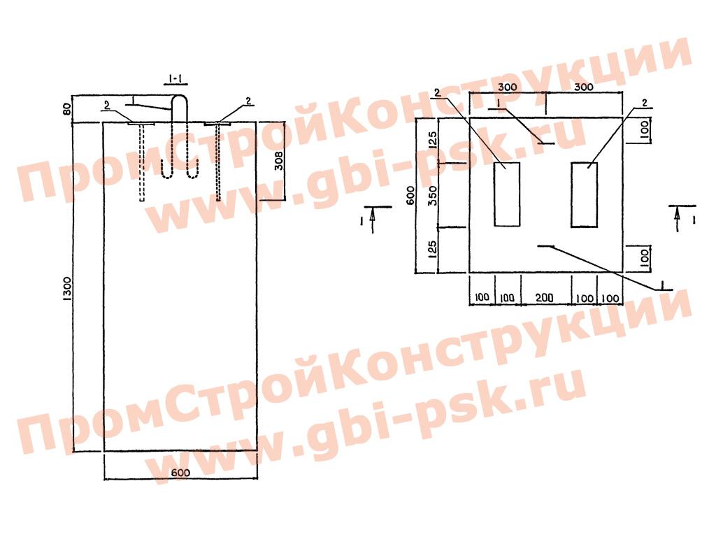 Блоки фундаментов Ф60.60.130 лестничных сходов. Серия 3.503.1-96 выпуск 1-2