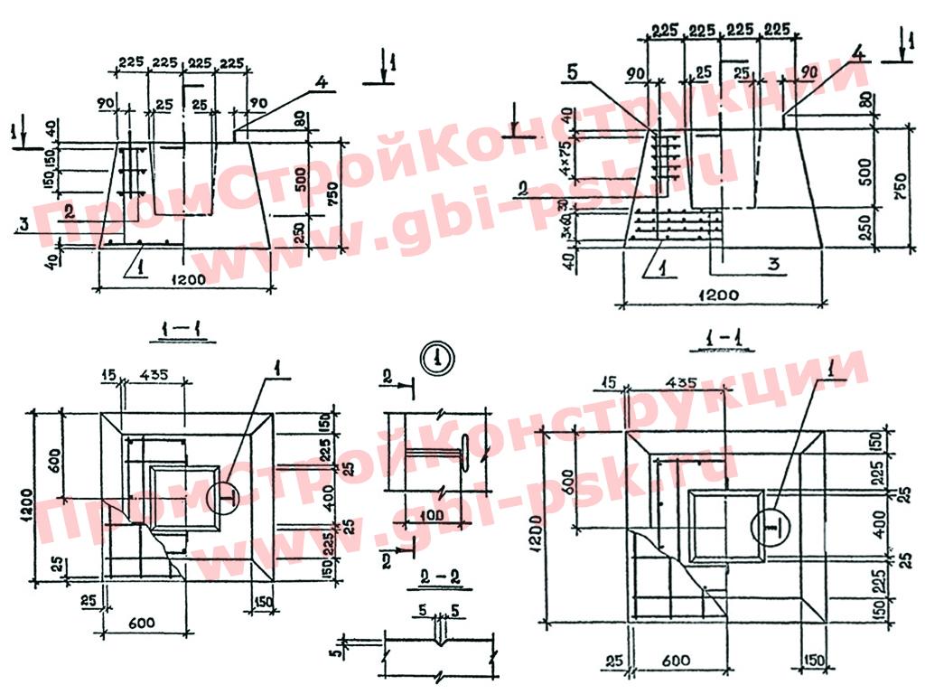 Железобетонные фундаменты стаканного типа. Серия 1.020.1-7 выпуск 1-1