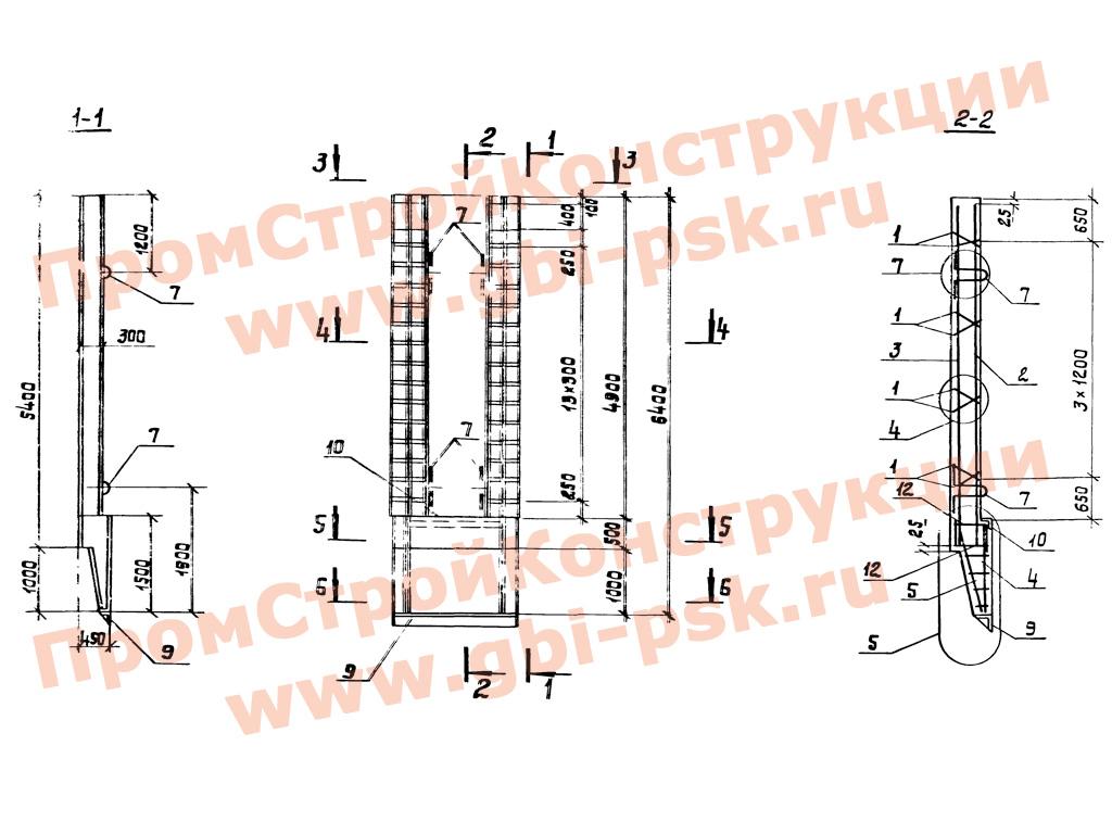 Панели стеновые для опускных колодцев. Серия 3.902.1-12 выпуск 1