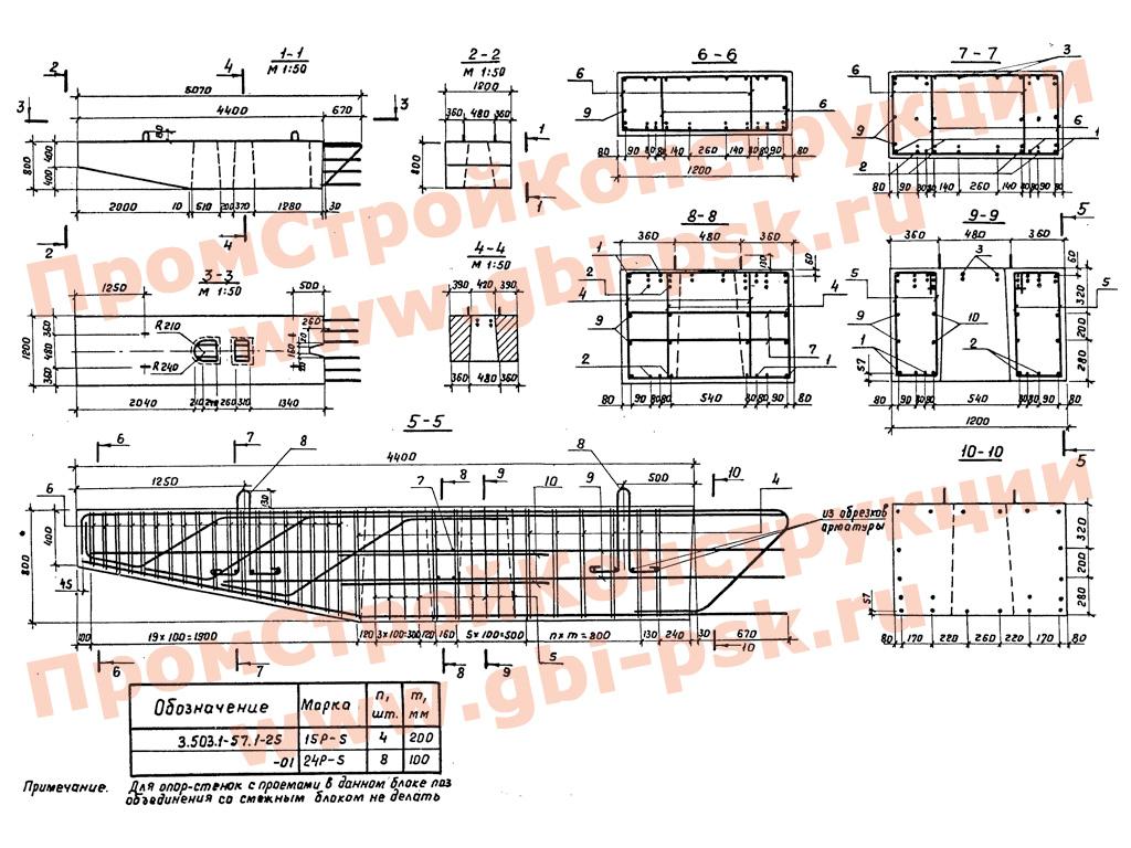 Блоки стоек, ригелей и насадок промежуточных опор под пролетные строения автодорожных мостов. Серия 3.503.1-57 выпуск 1