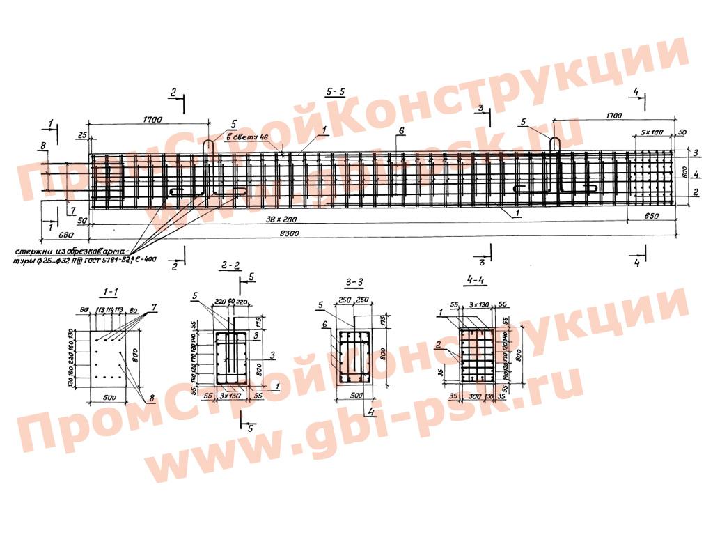 Блоки стоек и ригелей для устройства пролетных строений автодорожных мостов. Серия 3.503.1-76 выпуск 1
