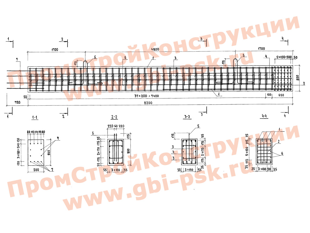 Блоки стоек, ригелей и подколонников для автодорожных мостов.  Серия 3.503.1-90 выпуск 1