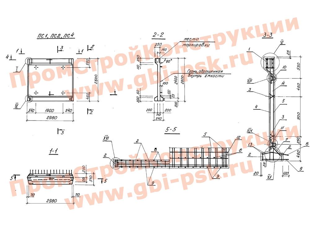 Панели стеновые балочные с опорной пятой с клиновидным стыком. Серия 3.900.1-10 выпуск 2-7