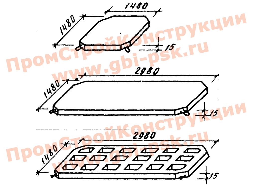 Плиты крепления откосов гидросооружений. Серия 3.820-15 выпуск 5