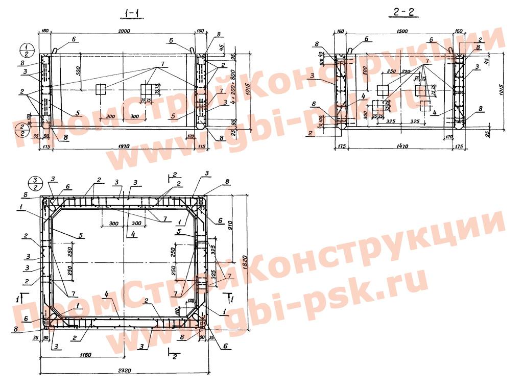 Секции башен водоспусков плотин и гидросооружений. Серия 3.820-15 выпуск 4