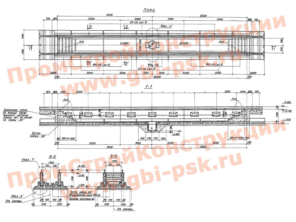 Смотровые канавы для тепловозно-вагонных депо промышленных железных дорог. ТП 501-3-8 альбом 1