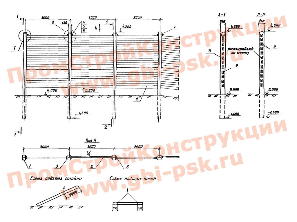 Сборные железобетонные снегозащитные ограждения железнодорожного полотна. Серия 3.501.1-159 выпуск 1