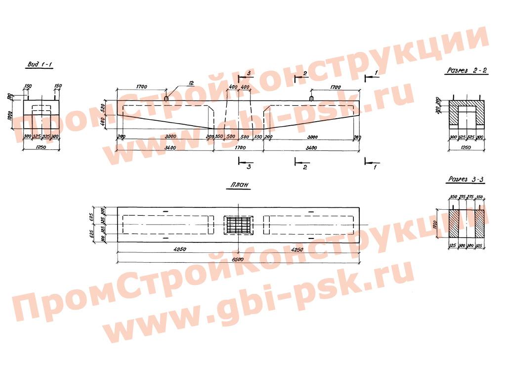 Блоки ригелей и диафрагм для безростверковые из железобетонных опор автодорожных мостов с пролетами до 33 м. 3.503.1-102 выпуск 2