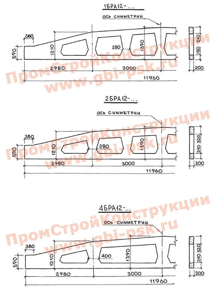 Балки решетчатые арочные предварительно напряженные пролетом 12 м. ТУ 67-1003-88