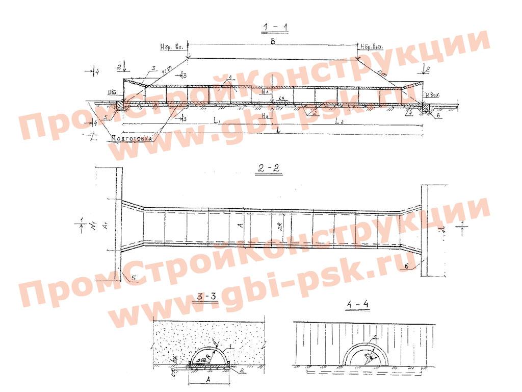 Водопропускные дорожные трубы из полуколец радиусом 0.75, 1, 1.25 м. ТР 57-368