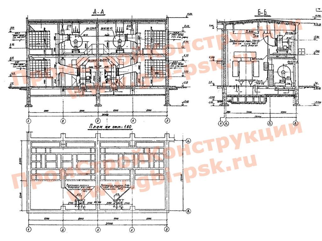 Элементы закрытых подстанций 110/6 — 10 кВ мощностью 126 МВА с закрытой установкой трансформаторов с шумоглушением. ТП 407-3-203.