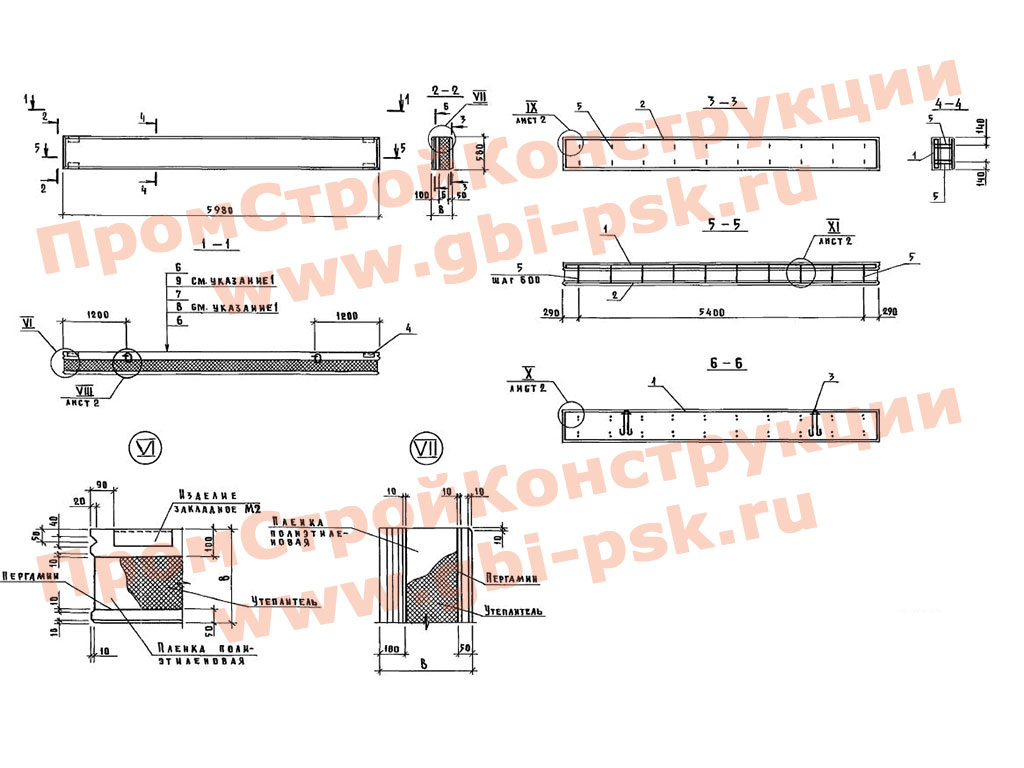 Железобетонные трехслойные панели ПСТ с эффективной теплоизоляцией для зданий хранилищ плодоовощной продукции. Шифр 1481