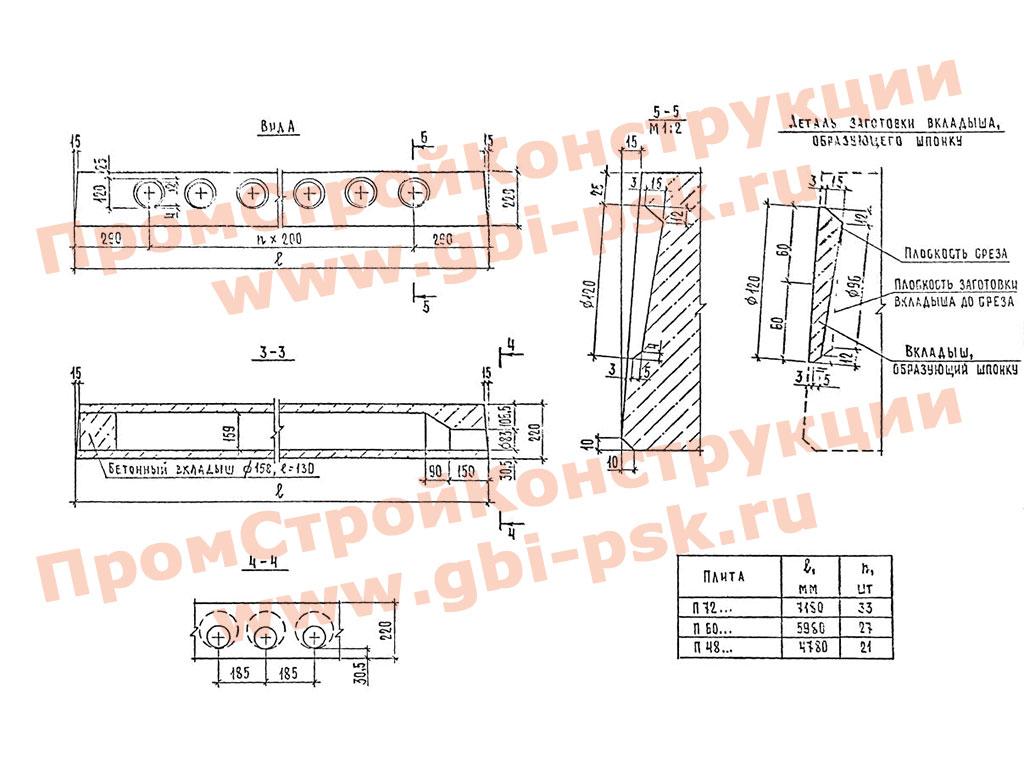 Плиты перекрытий железобетонные многопустотные для строительства в сейсмических районах. Шифр 89-1227
