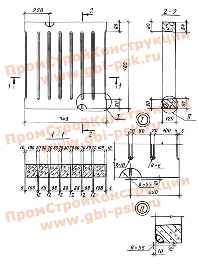 Железобетонные решетчатые плиты для вентиляционных каналов овоще-картофелехранилищ. Шифр В 019