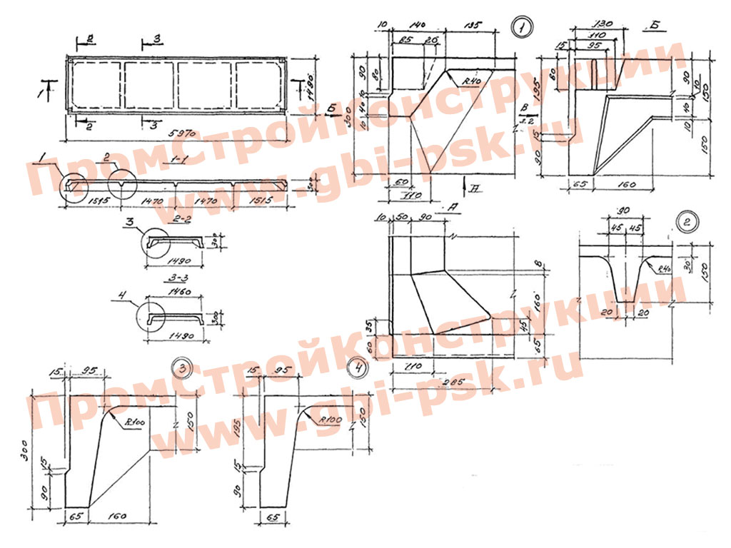 Плиты железобетонные 2ПГ ребристые размером 1.5х6 м без предварительного напряжения для покрытий одноэтажных производственных зданий. Серия 1.465.1-7/84, Шифр М33.15/92