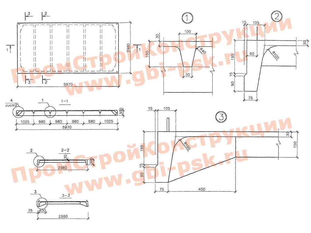 Плиты железобетонные 3ПГ ребристые размером 3х6 м без предварительного напряжения для покрытий одноэтажных производственных зданий. Шифр М33.02/06