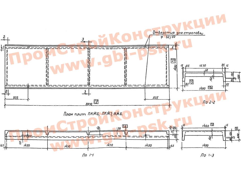 Железобетонные плиты ПКЖ размером 1.5х6 м для участков покрытий производственных зданий с повышенной нагрузкой. ТЧ 52-56