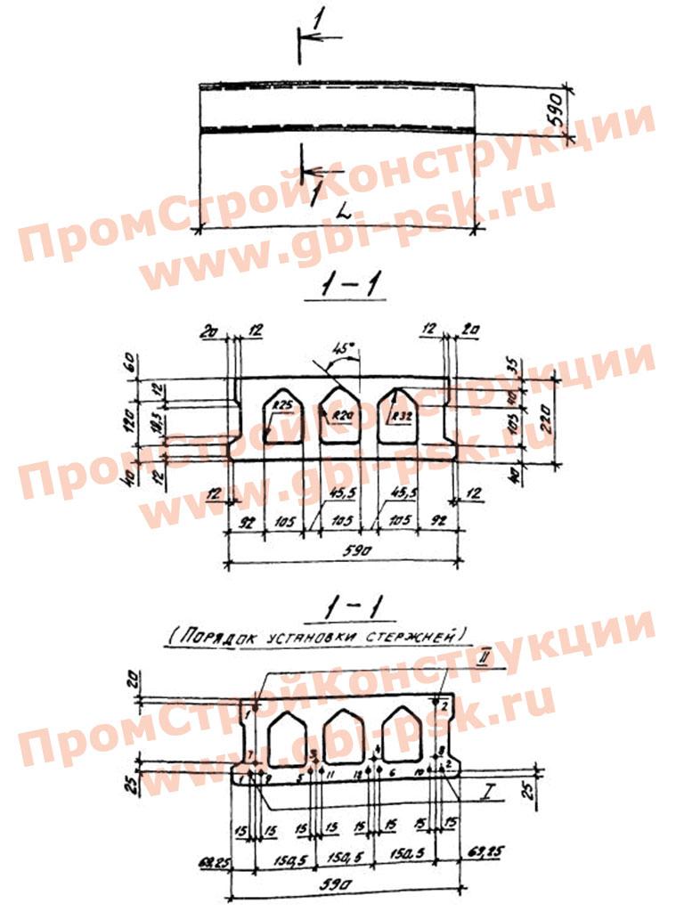 Плиты рядовые железобетонные многопустотные предварительно напряженные 220 мм для перекрытий и покрытия зданий. Шифр 0-312