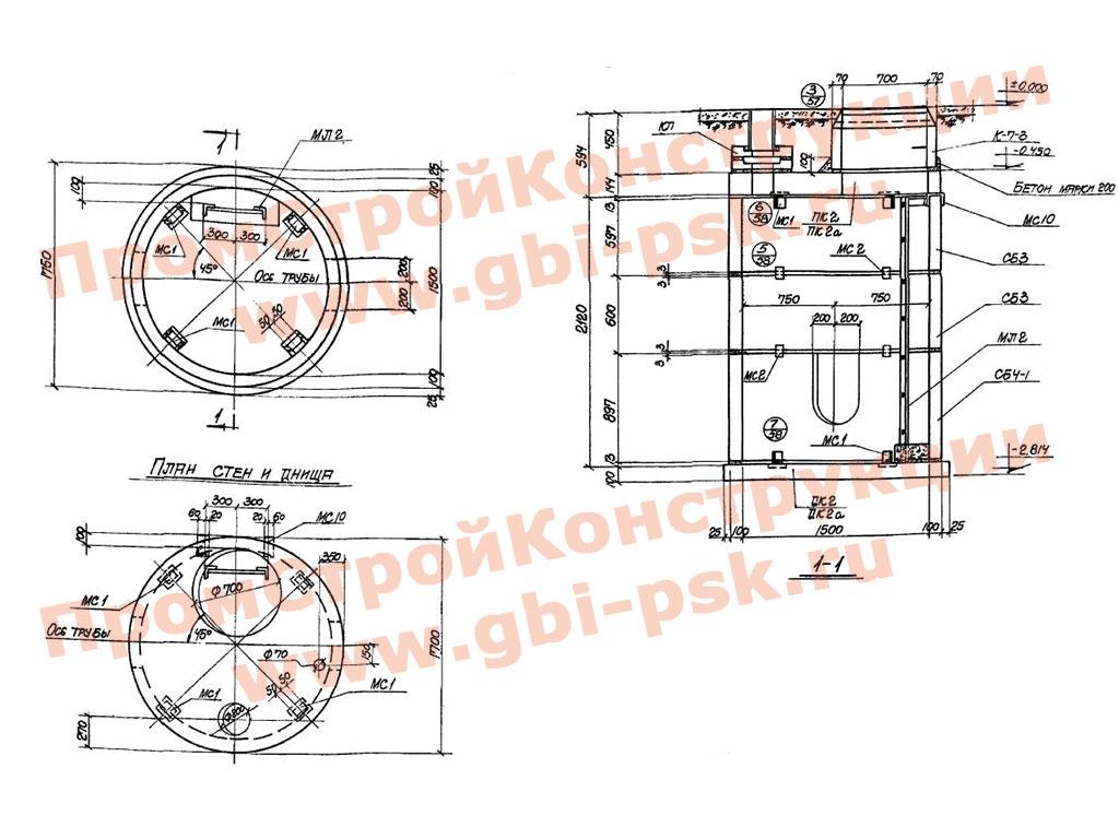 Унифицированные колодцы для подземных газопроводов. ТП 905-7